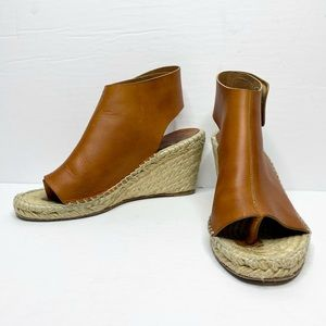 Celine Open Toe Leather Espadrille Wedges
